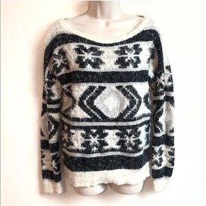 Express soft aztec marled high low sweater medium